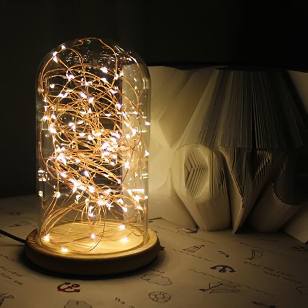 Modern LED Line Light Table Lamp Wood+Glass Desk Lamp Transparent ...