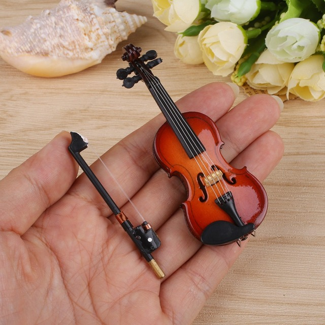 New Mini Violin Guitar Upgraded Version With Support Miniature Wooden Musical Instruments Collection Decorative Ornaments Model 5