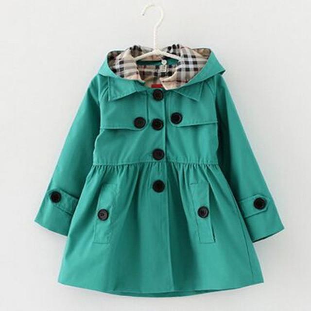 2016 Girls Trench Coat Cardigan Chaquetas Para Las Niñas Primavera Y Otoño Estilo de Inglaterra del Algodón Princesa de Las Muchachas chaquetas Venta Caliente