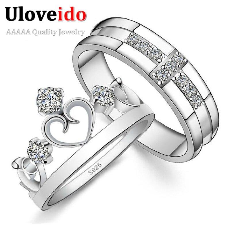 e3a02f3d54db Uloveido par anillos para amantes corona anillo para mujeres Cruz hombres  anillo conjunto Color ...