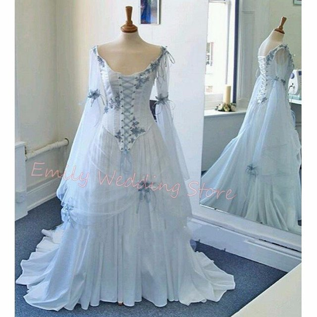 Discount Fantasy Fairy Medieval Gothic Wedding Dresses: Vintage Celtic Wedding Dress White And Pale Blue Medieval