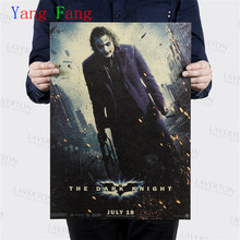 Wall Sticker Vintage Classic Movie Batman The Joker Poster Bar Home Decor Clown Painting Retro Kraft Paper Wallpaper 51*35cm(China)