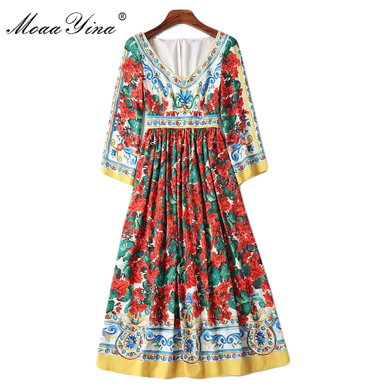 MoaaYina Fashion Designer Runway Dress Spring Summer Women Dress V neck 3 4 sleeve Floral Print