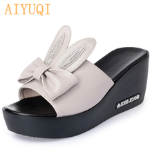 AIYUQI 2019  new genuine leather summer womens slippers, outdoor large size 41 42 43 ladies slippers. woman platform flip flops