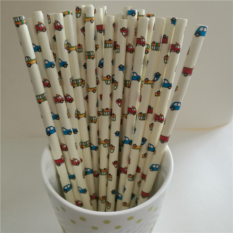 25Pcs Party Supply Eco-Friendly Paper Straw for Kids Wedding Birthday Picnic Party Decorations Cartoon Car Cocktail Party Straws