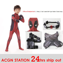 Free shipping Kid Deadpool Costume with Mask Superhero cosplay Suit Boy costumes Full Bodysuit Halloween kid for party