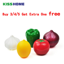 Купить с кэшбэком Cute Kitchen Vegetable Fruits Crisper Food Containers Onion Lemon Tomatoes Green Pepper Shaped Plastic Fresh Storage Box Case