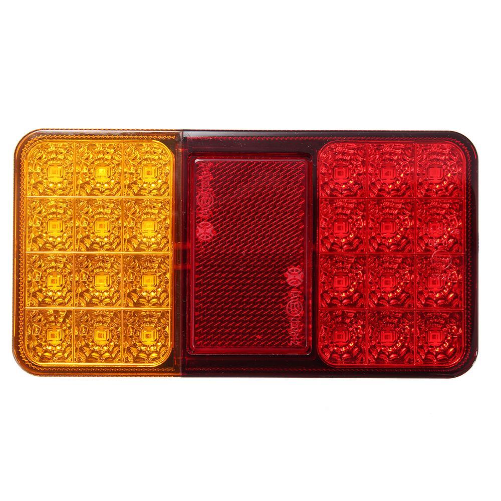 24led 12v reboque do carro caminhão traseiro luz da cauda freio parar indicador de volta lâmpada led para utes barcos caravanas à prova dwaterproof água vermelho + amarelo