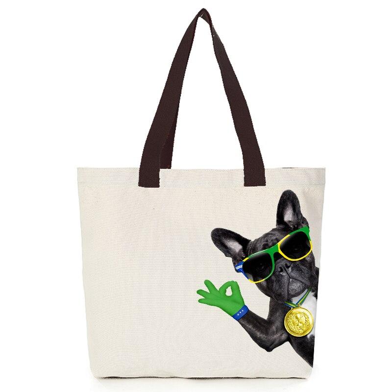 Origina cool dog series canvas custom tote bag customize eco bags diy logo shopping bag with logo  Dachshund Shepherd Dog Poodle (2)