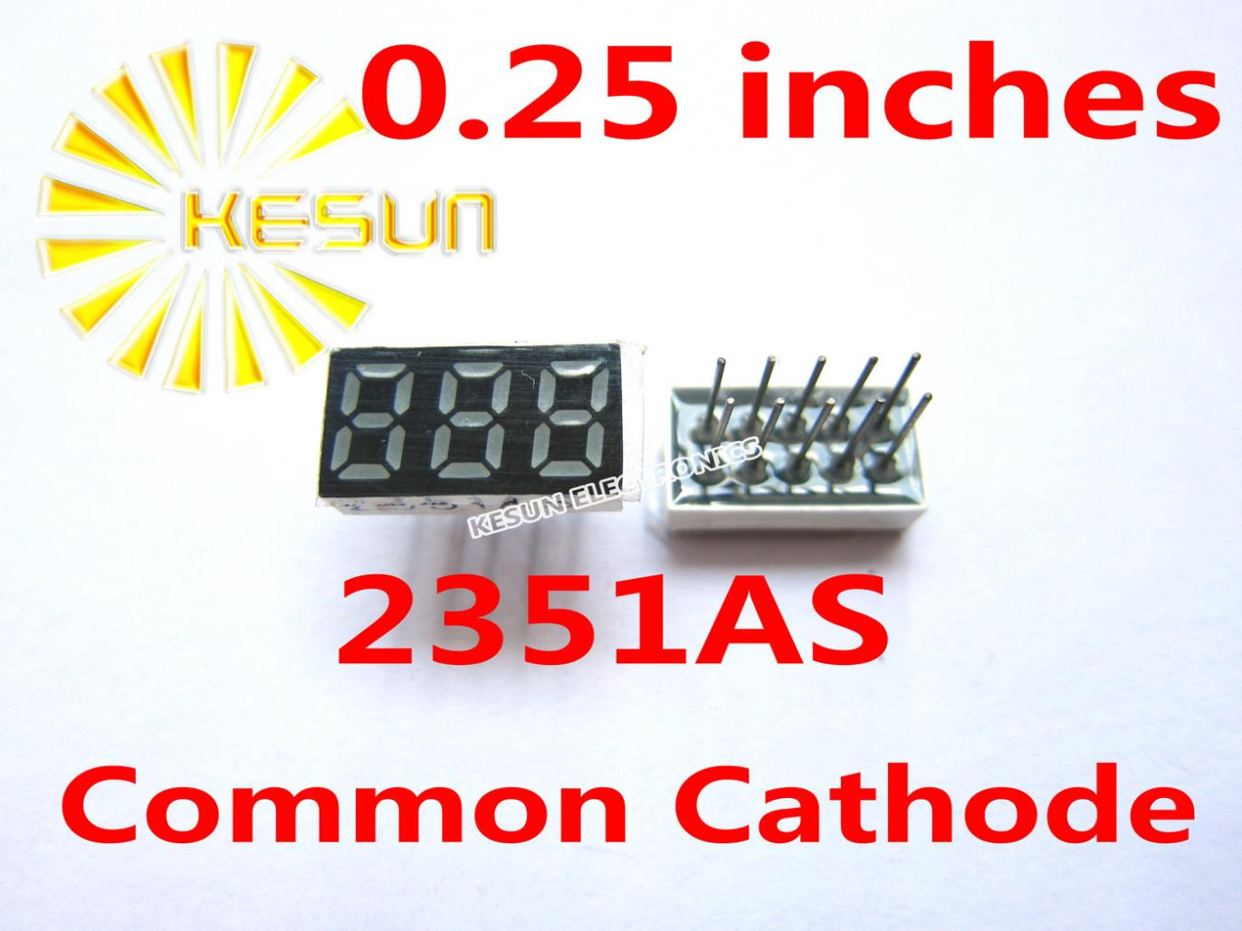 10PCS X 0.25 Inches Red Common Cathode/Anode 3 Digital Tube 2351AS 2351BS LED Display Module Light Beads