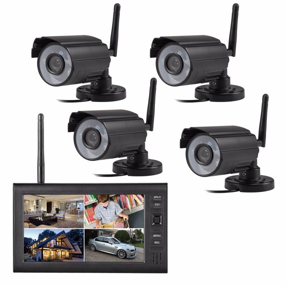 Digital sem fio Em Casa Ao Ar Livre IR câmera de segurança de 7 polegadas lcd Monitor De vídeo SD Card gravação 4CH DVR sistema de Vigilância