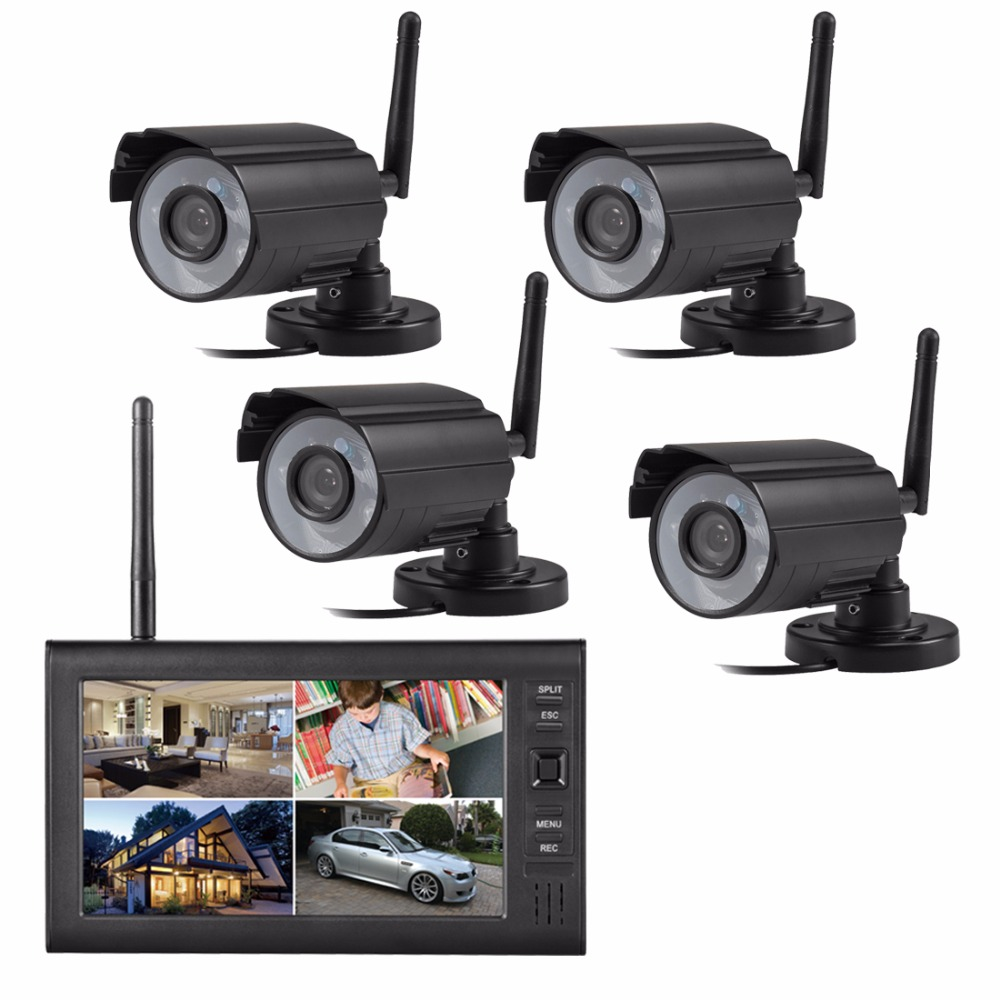 Digital wireless Outdoor Home IR security camera 7inch lcd Monitor SD Card video Suveillance recording 4CH DVR system