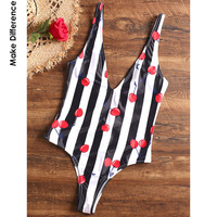 Make Difference Brand Lycra Sexy Black White Striped Thong Swimsuit 2018 Lovely Red Print High Cut