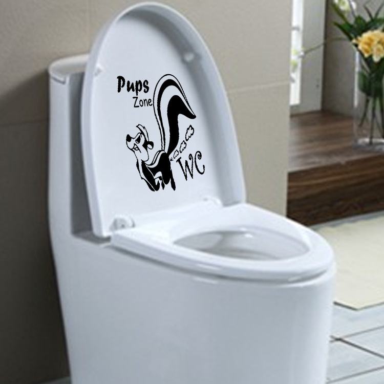 Image 5 - Skunk Farting Toilet Sticker Toilet 23*24cm Removable Seat Wall Sticker Vinyl Decal Home Decor For Bathroom Glass Washroom-in Wall Stickers from Home & Garden