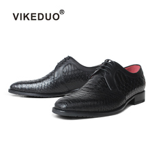 VIKEDUO Genuine Python Skin Men Derby Shoes Black Wedding Office Footwear Bespoke Leather Formal Dress Zapato Hombre