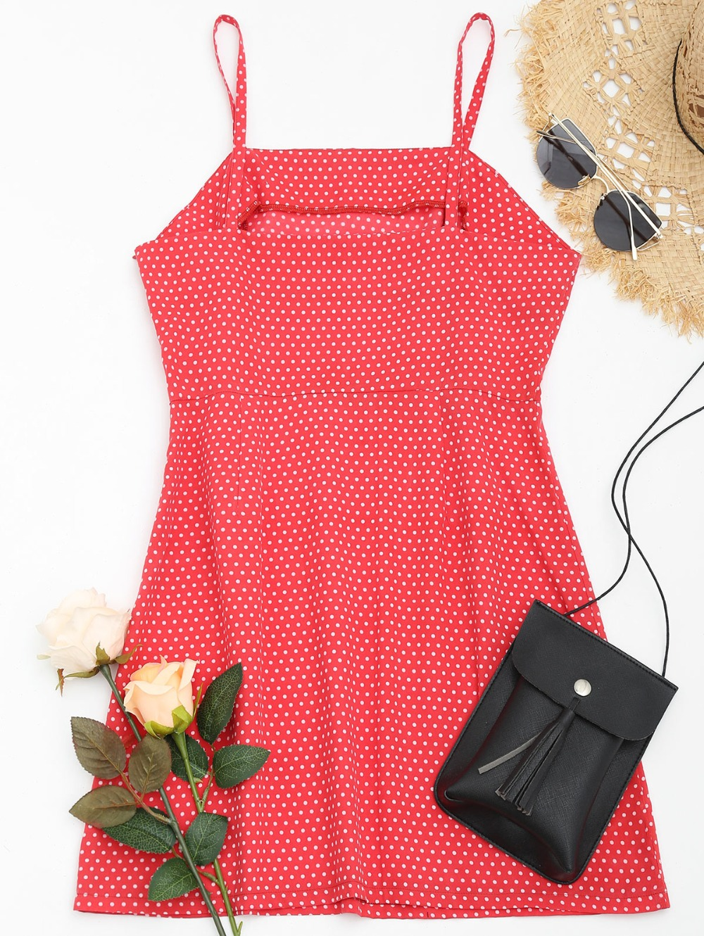 AZULINA Polka Dot Spaghetti Strap Summer Cami Dress Women Casual Brief A Line Red Mini Dress Vestidos De Festa Ladies Sundress 8