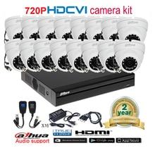 Dahua original 720P DH-HAC-HDW1100M waterproof CVI IR Dome Security Camera with H.264 16CH CVI DHI-XVR4116HS camera kit
