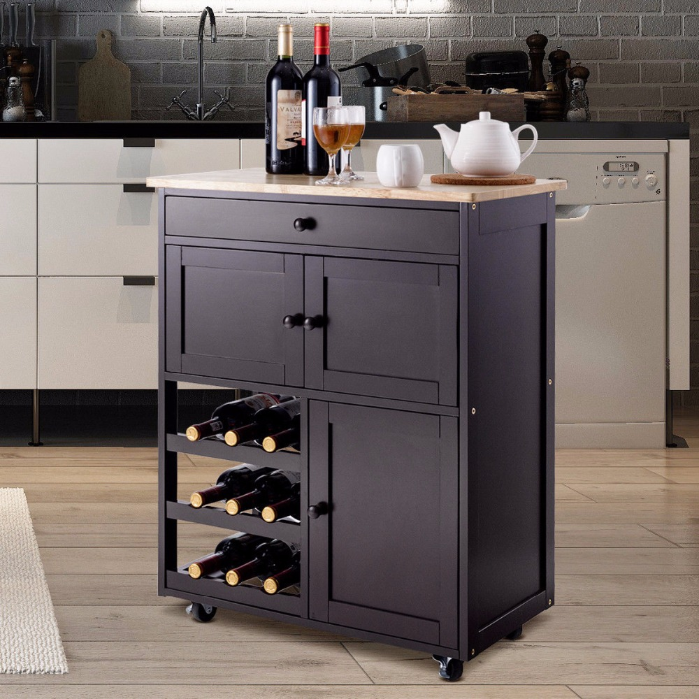Giantex Modern Rolling Kitchen Cart Trolley Island Storage Cabinet w/Drawer&Wine Rack Dining Room Furniture HW56608BN giantex rolling vintage wine cabinet bar stand wood storage holder liquor bottle shelf home furniture hw54830