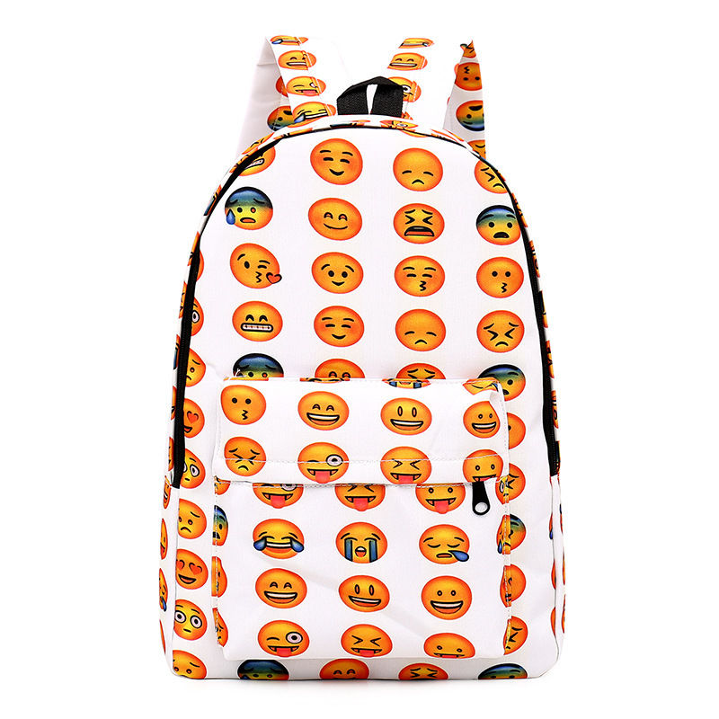 Women Emoji Backpack Rucksack Girl Canvas School Bag Travel Laptop Bag Cartoon Satchel