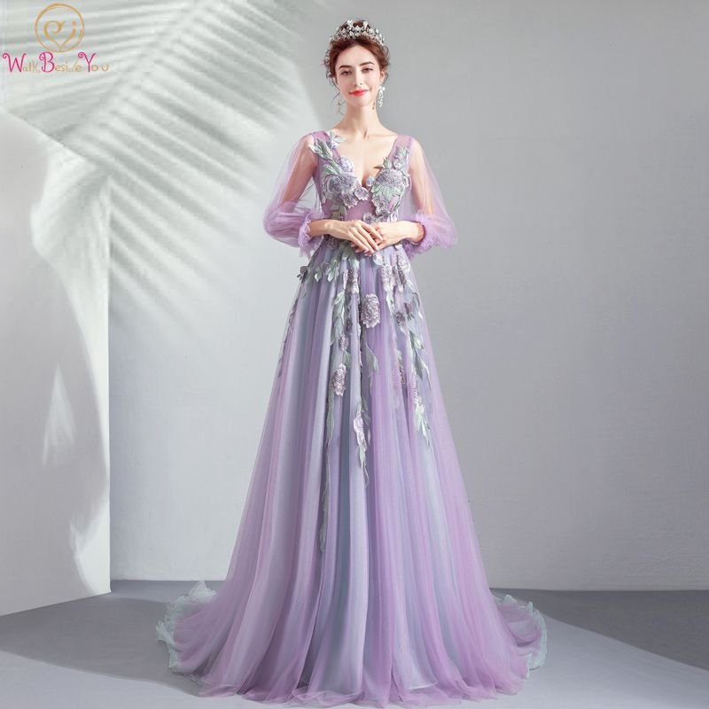 Purple   Prom     Dresses   Full Sleeves Appliques Deep V Neck Lace Up Back Tulle Evening Gowns Crystal balo elbiseleri Walk Beside You