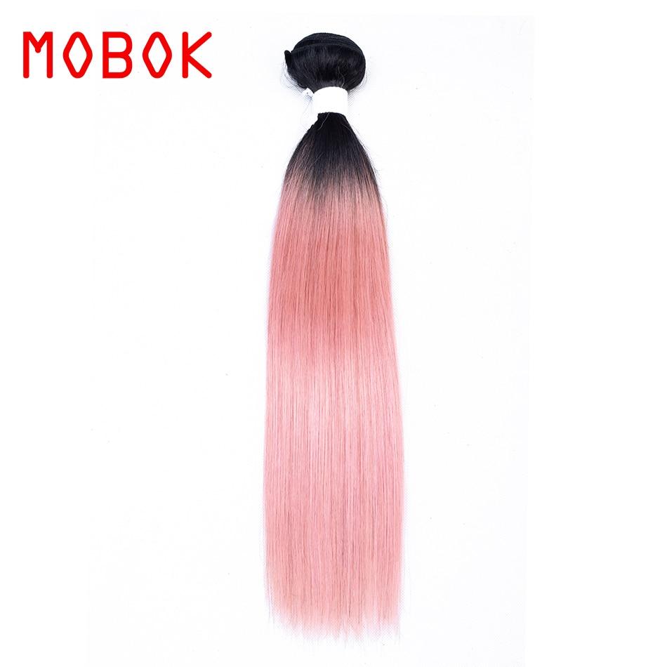 Mobok Ombre Human Hair Bundles Ot Rose Pink Dark Roots Ombre Brazilian Hair Body Wave Pre-colored Rose Pink Non Remy Hair Weave Hair Weaves