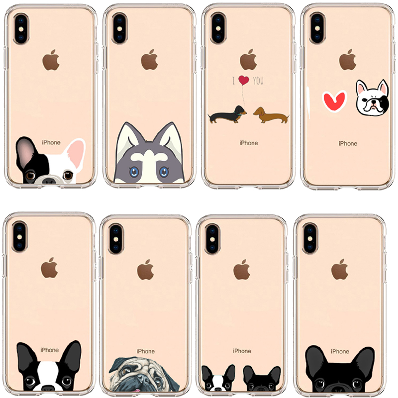 Cute Puppy Pug Bunny Cat Princess Meow French Bulldog Soft Phone Case Coque For iPhone 11 11Pro XS MAX XR X 7 6 8 8 plus X 5 SE