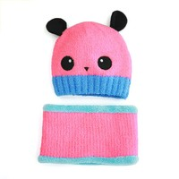 New Korean Style Winter AutumnChild Baby Boy Girl Panda Pattern Knitted Cap Paragraph Hat Scarf A