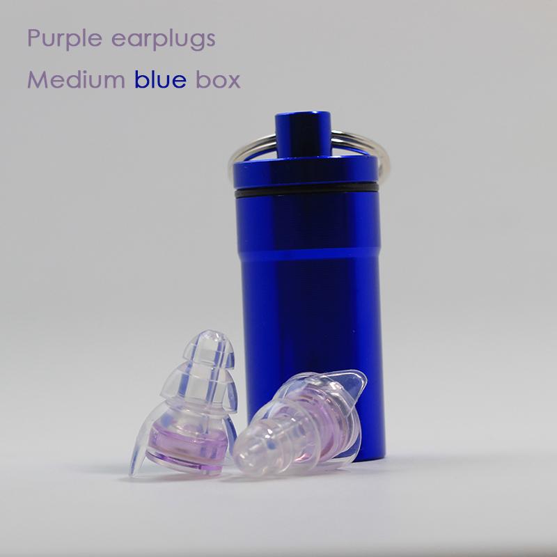 Purple earplugs + Medium blue box