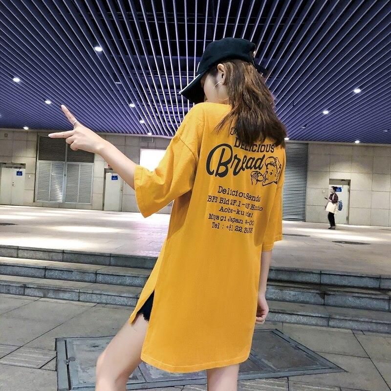 Harajuku Ulzzang Oversize Tshirt Letter Print Short Sleeve T-Shirts Women Loose Summer T Shirt Female Casual Asymmetry White Top