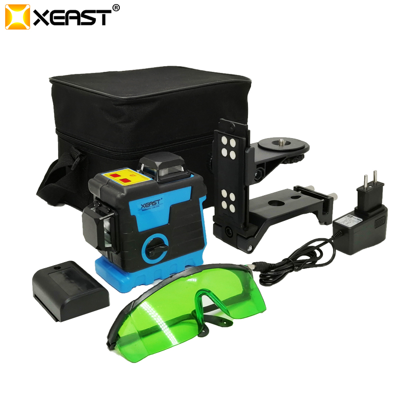 XEAST 12Lines 3D Green Laser Level Lithium Battery Self Leveling 360 Horizontal Vertical Cross Lines Can