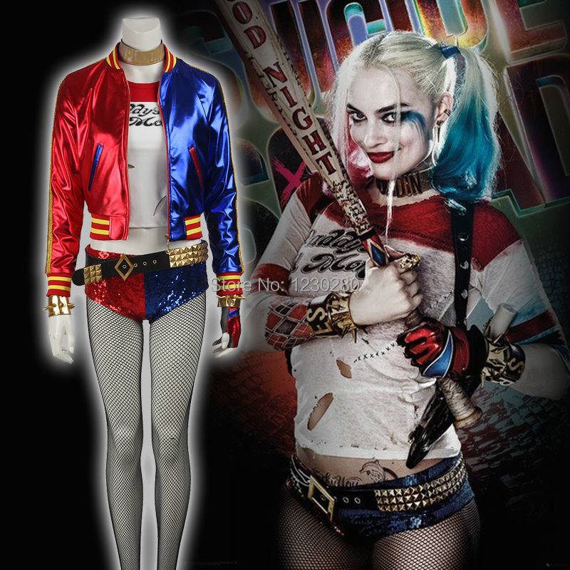 2016 New Arrival Suicide Squad Harley Quinn Cosplay Costume Harajuku Sudaderas Mujer T Shirt Classic Halloween