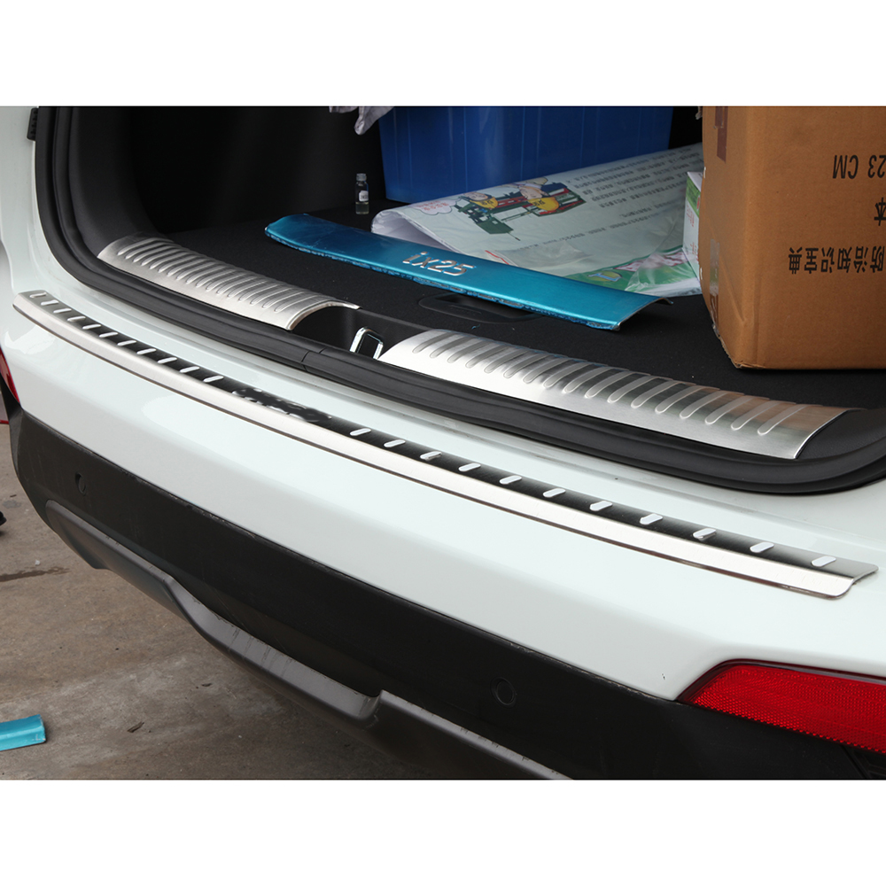 Para hyundai ix25 creta pára-choques traseiro protetor retaguardas cauda bagageira tronco guarda peitoril placa scuff guarnição capa de aço inoxidável