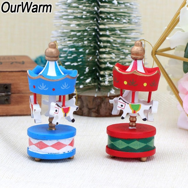 Us 8 39 30 Off Ourwarm Christmas Wood Carousel Horse Ornaments Carousel Designs Christmas Tree Decoration Multicolour Party Supplies 8 3x3 2cm In