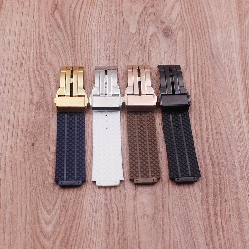 Image 5 - Watch accessories for Hublot watch strap silicone rubber strap BIG BANG men's strap 25 mm* 17 mm strap men's top brand strap-in Watchbands from Watches