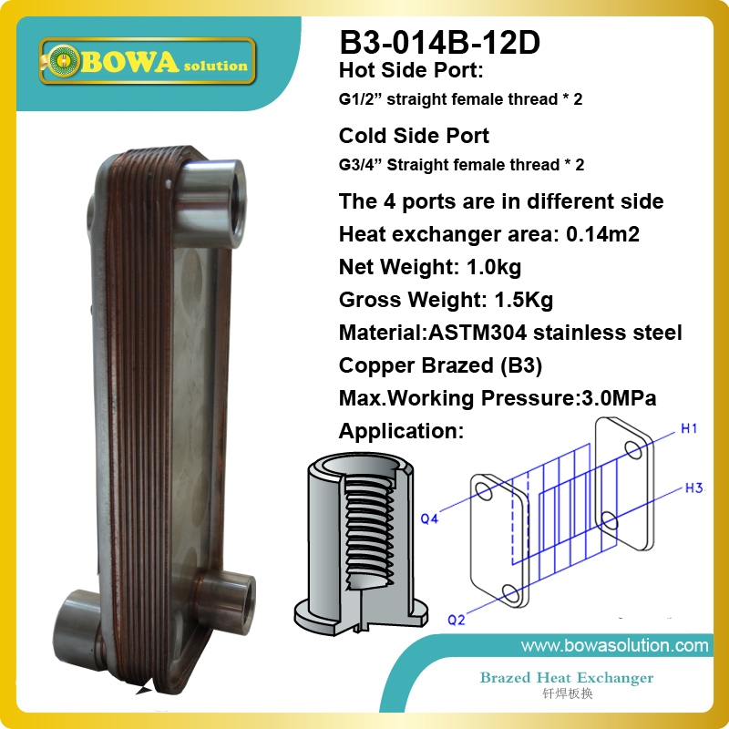 B3-014-12 small capacity Plate heat exchanger with 4 connecting port for portable water chiller, replace SPX heat exchanger 28 plates heat exchanger as 14kw evaporator of air source or water source water chiller replace spx plate heat exchanger