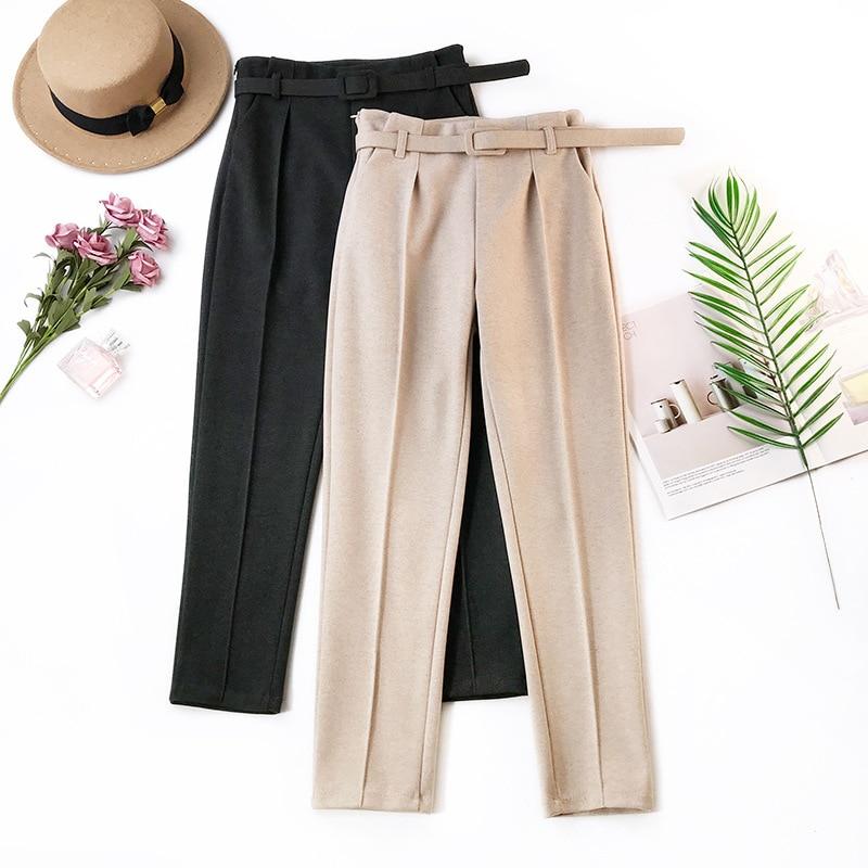Elegant Sashes Women's Pants 2019 Autumn Winter Solid High Waist Pockets Harem Pants Harajuku Fitness Office Lady Trousers Femme