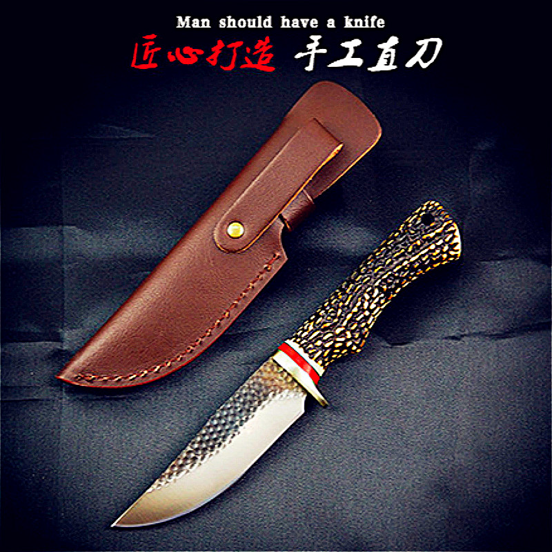 US $27 4 |Hand forged vintage Chinese hunting knife color wood tactics  multi purpose survival knife ABS antler handle straight knife-in Knives  from