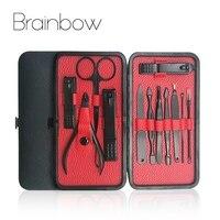 Yüz için Brainbow 12in1 Tırnak Manikür Araçları Set Kiti Tırnak ayak Tırnak Dosya Tırnak Eti İtici Makyaj Makas Tırnak Makası Pedikür setleri