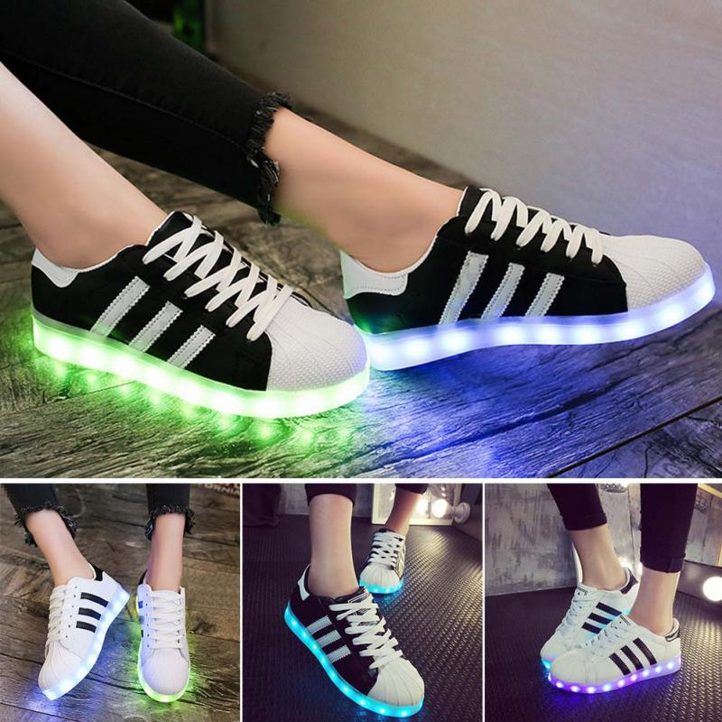 7 Colors LED Flashing Shoes Colorful Luminous Glowing Casual Shoes Sneaker USB Rechargeable light for Men Flat Shoes Sportswear plus size 35 40 led shoes women glowing 7 colors led shoes for adults fashion luminous led light shoes woman sapato feminino