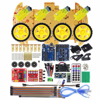 Smart Robot Car Kit 4WD High Tech Toys Bluetooth IR Obstacle Avoid Line Vehicles Follow L298N ForArduino Programmable Toys