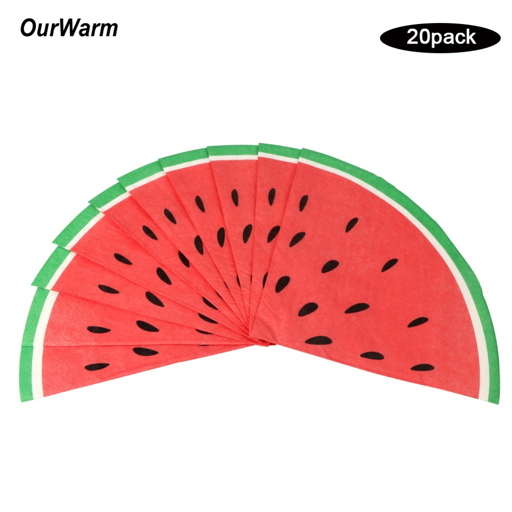 OurWarm 20pcs Disposable Paper Napkins Watermelon Hawaiian Luau Theme Party Tableware Summer Favors