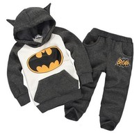 Batman Set Baby Boys Clothing Set Children Hoodies Pants Thicken Winter Warm Clothes Boys Girls Sets