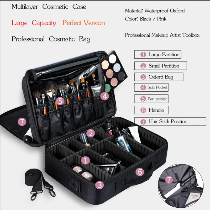 SAFEBET Brand Women High Quality Waterproof Oxford Large Multi-Storey Professional Makeup Organizer Bolso Mujer Cosmetic Case