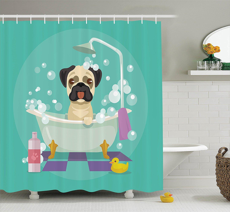 Pug Dog in Bathtub Grooming Doggy Puppy Salon Service Shampoo ...