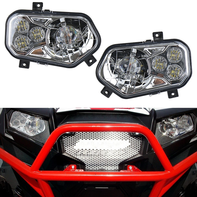 ФОТО For Polaris Ranger Side X Sportsman ATV / UTV Chrome LED Headlight Kit