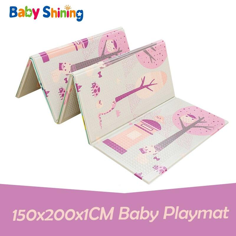 Bébé brillant enfants XPE mousse bébé jouer tapis 150x200x1 CM pliant ramper Pad réversible enfants activité tapis pour les filles