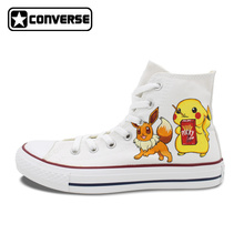 White Converse All Star White Boys Girls Shoes Anime Pokemon Pikachu Eevee Umbreon Design Hand Painted Shoes Women Men Sneakers