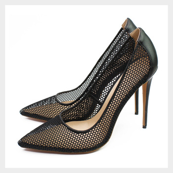 Black Mesh Woman Pumps Hollow Out Women Summer High Heels 12cm Sexy Lady Party Wedding Shoes Pointed Toe Plus Size Thin Heel