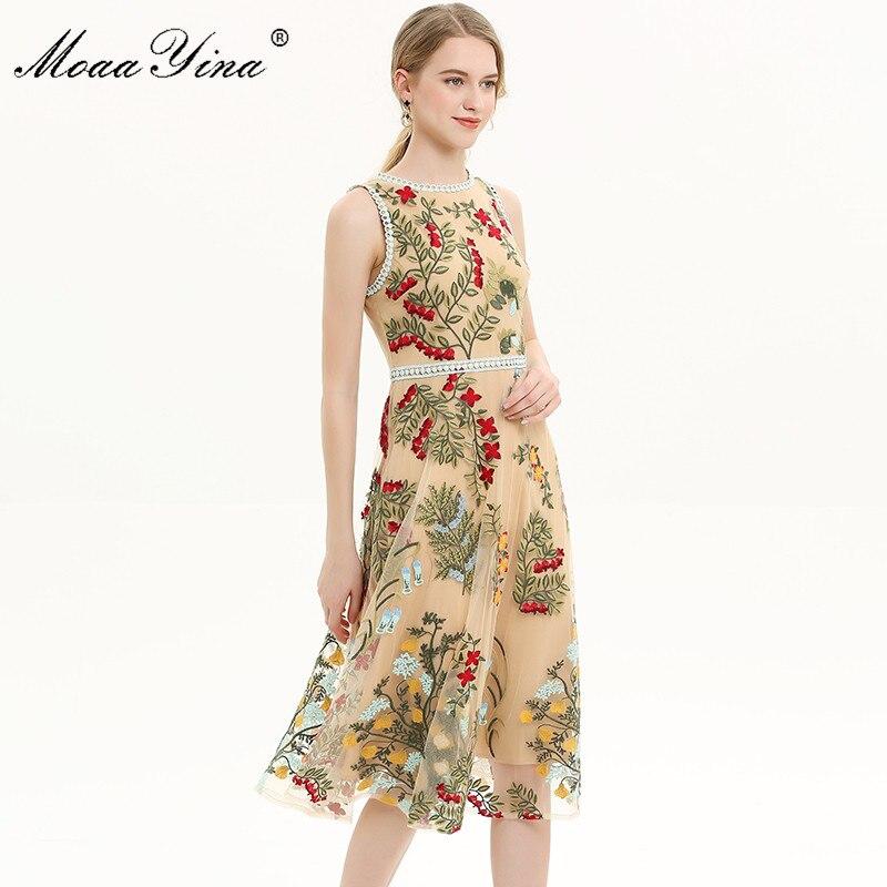 MoaaYina Fashion Designer 활주로 dress 봄 Summer Women Dress 꽃 Mesh 자 수 휴. Party Slim 우아한 드레스-에서드레스부터 여성 의류 의  그룹 2