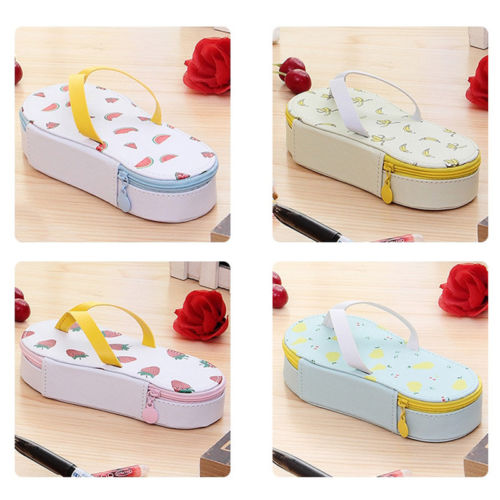Cute kawaii fruit Flip-flops creative slippers pencil case School office stationery supplies pencil bag pen  Child stationery